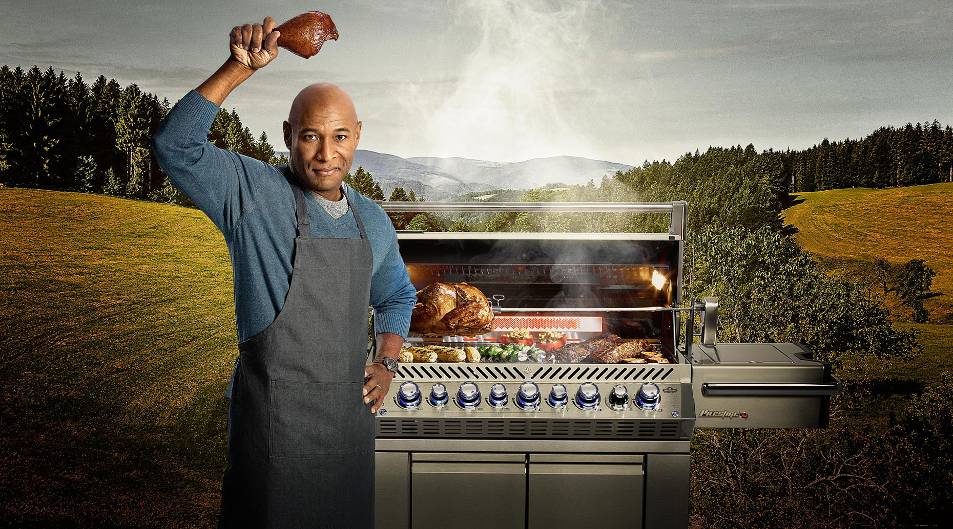 Man cooking on a BBQ grill