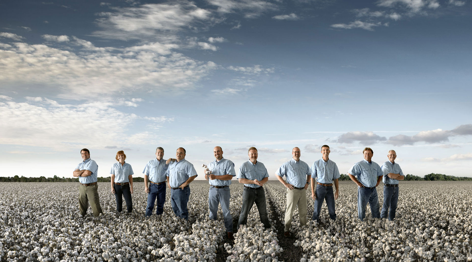 Cotton growers in a field of cotton