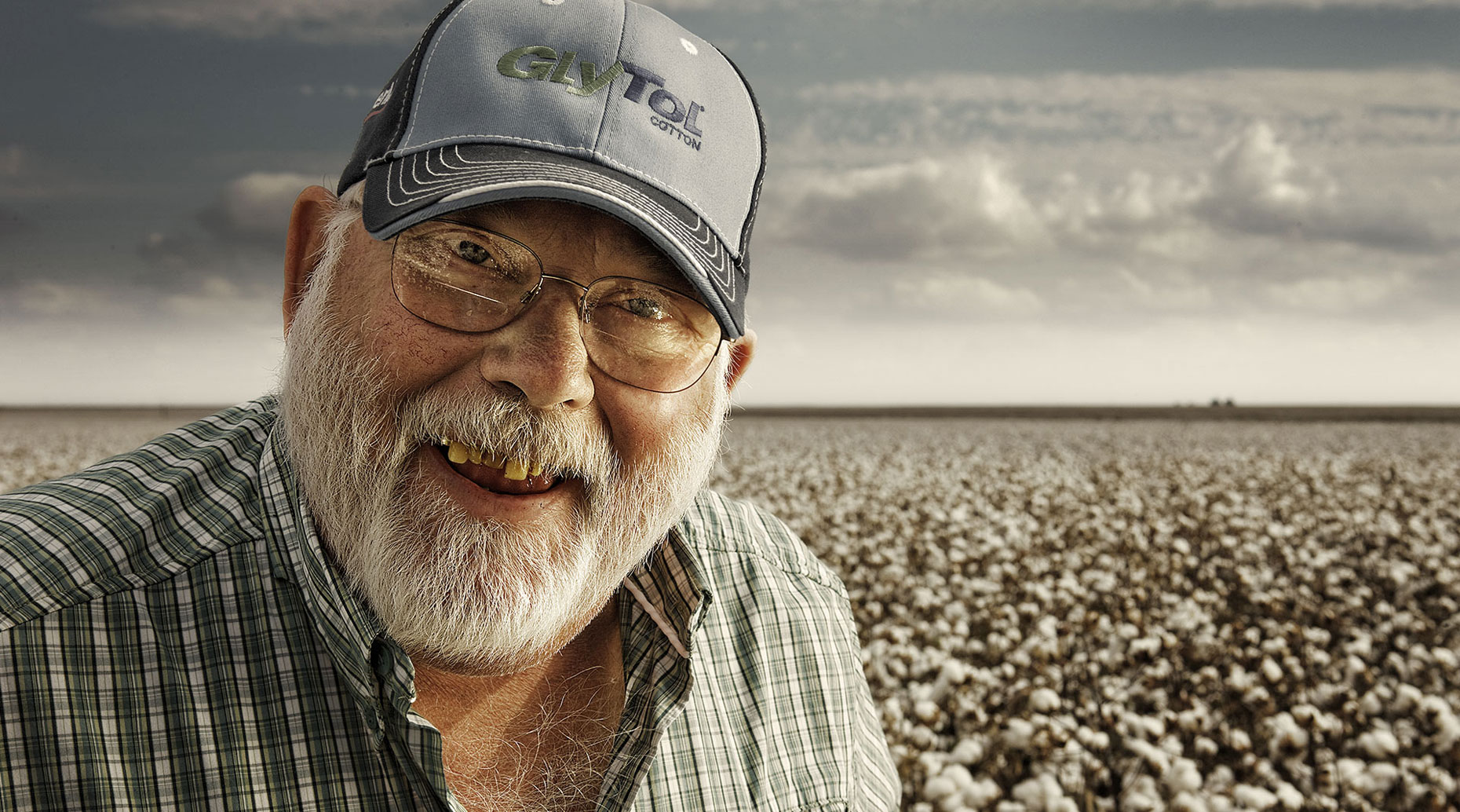 Old agronomist in a cotton field in West Texas.