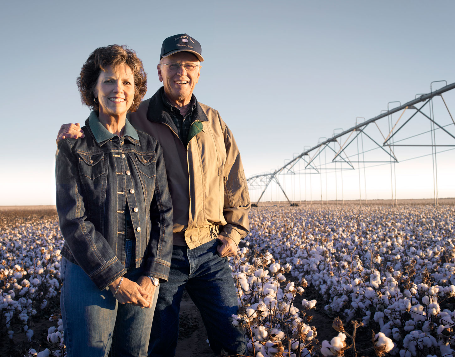 Randi and Bobby on their cotton farm