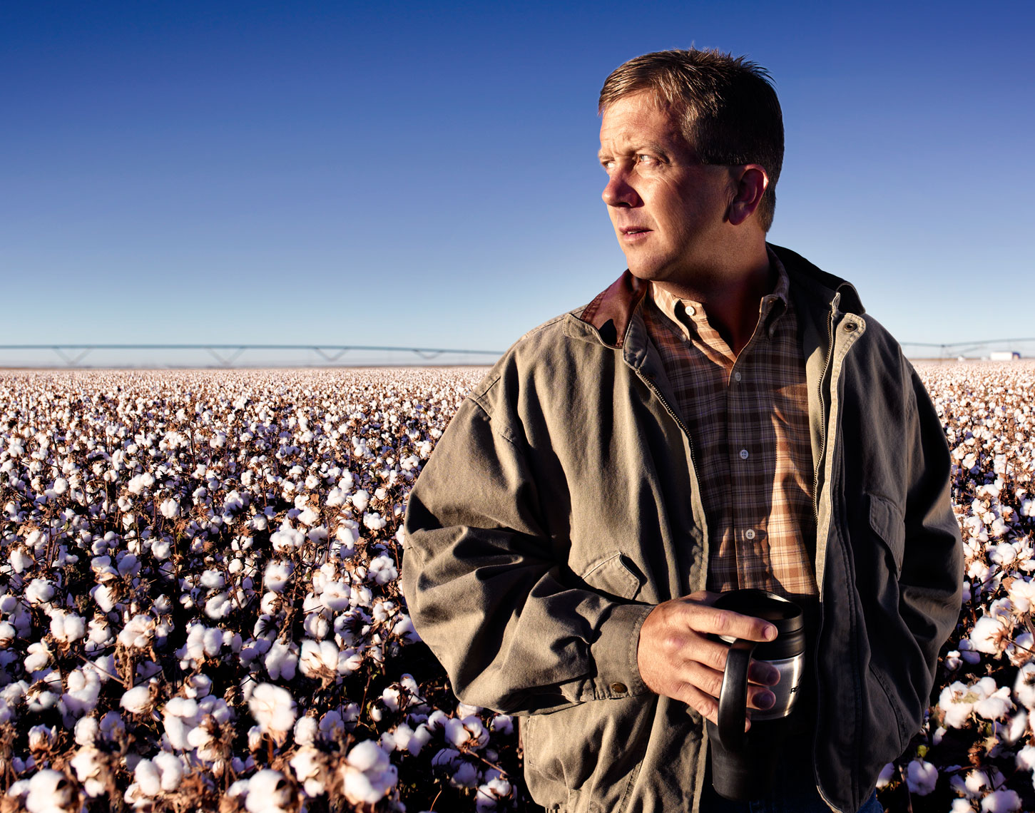 Cotton grower candid portrait at sunrise