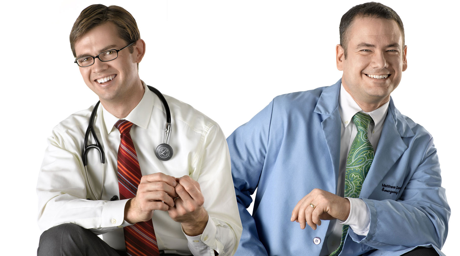 Doctors on a white background.