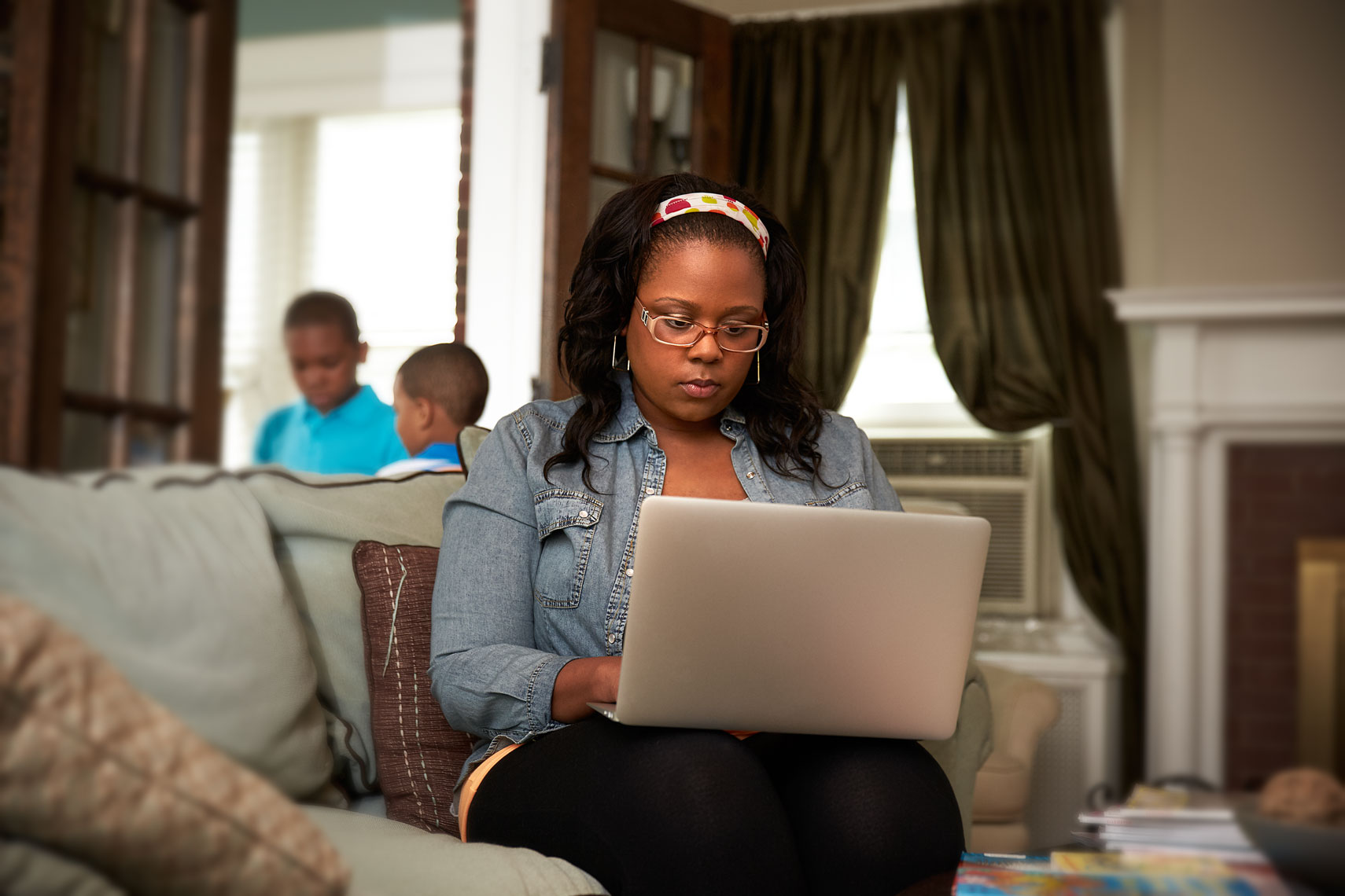 African American woman doing home work