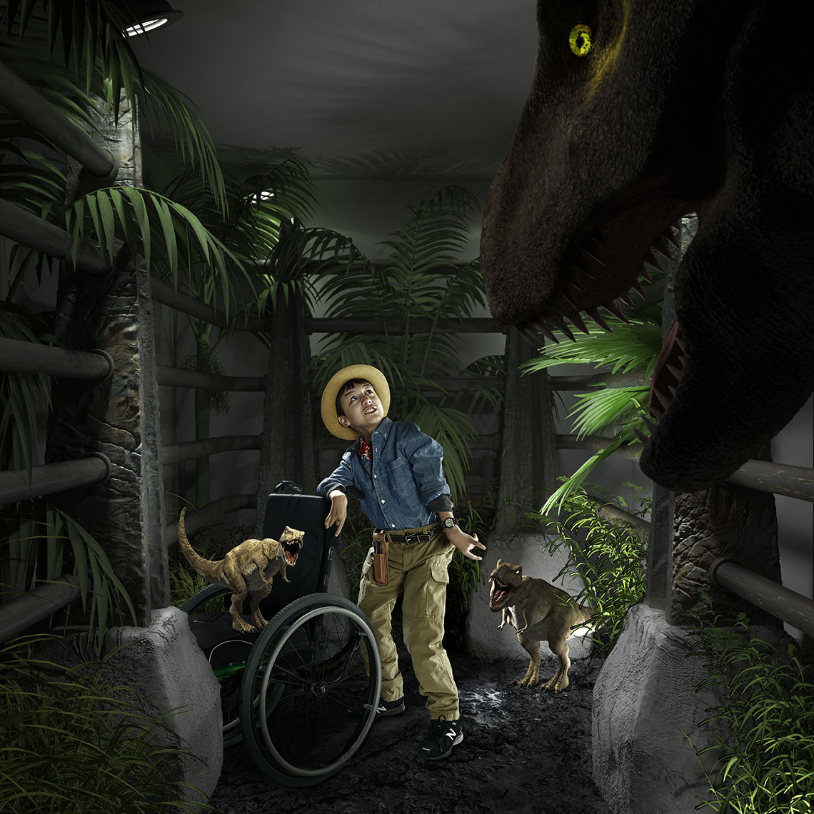 Young boy surrounded by dinosaurs